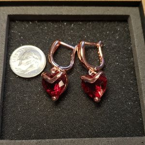NWT Red Heart CZ 18k Rose Gold Plated Earrings